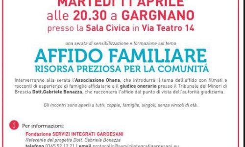 Martedì 11 Aprile alle 20:30 a Gargnano si parlerà di affido