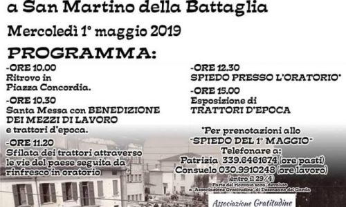 Mercoledí 1 maggio, noi ci saremo. Grazie Parrocchia di San Martino
